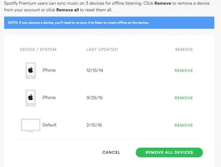 Controle los dispositivos fuera de línea de Spotify en la configuración de su cuenta.