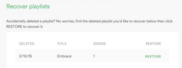 Recupera fácilmente listas de reproducción de Spotify eliminadas.