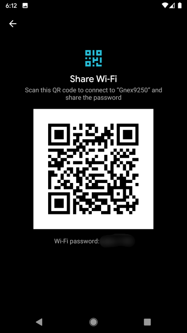Uso compartido de contraseñas Wi-Fi de Android 10 mediante código QR