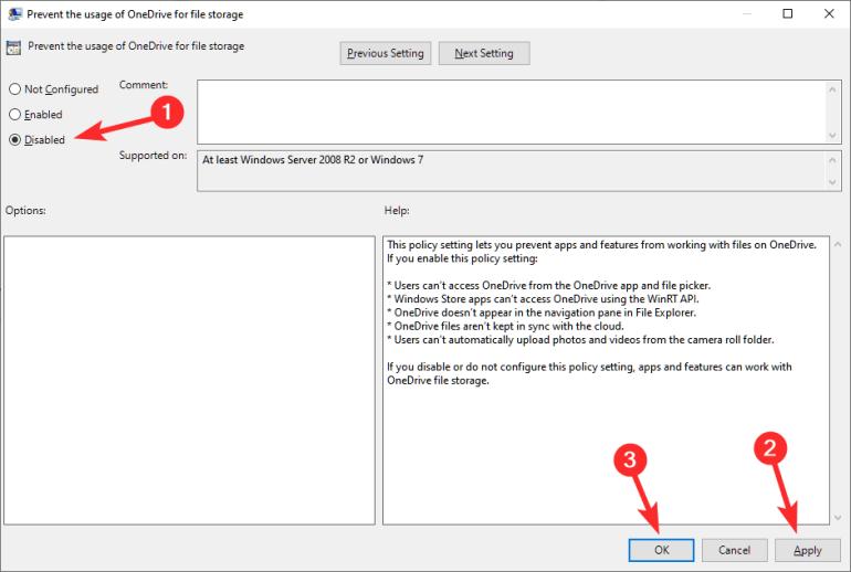 Evitar el uso de OneDrive para el almacenamiento de archivos