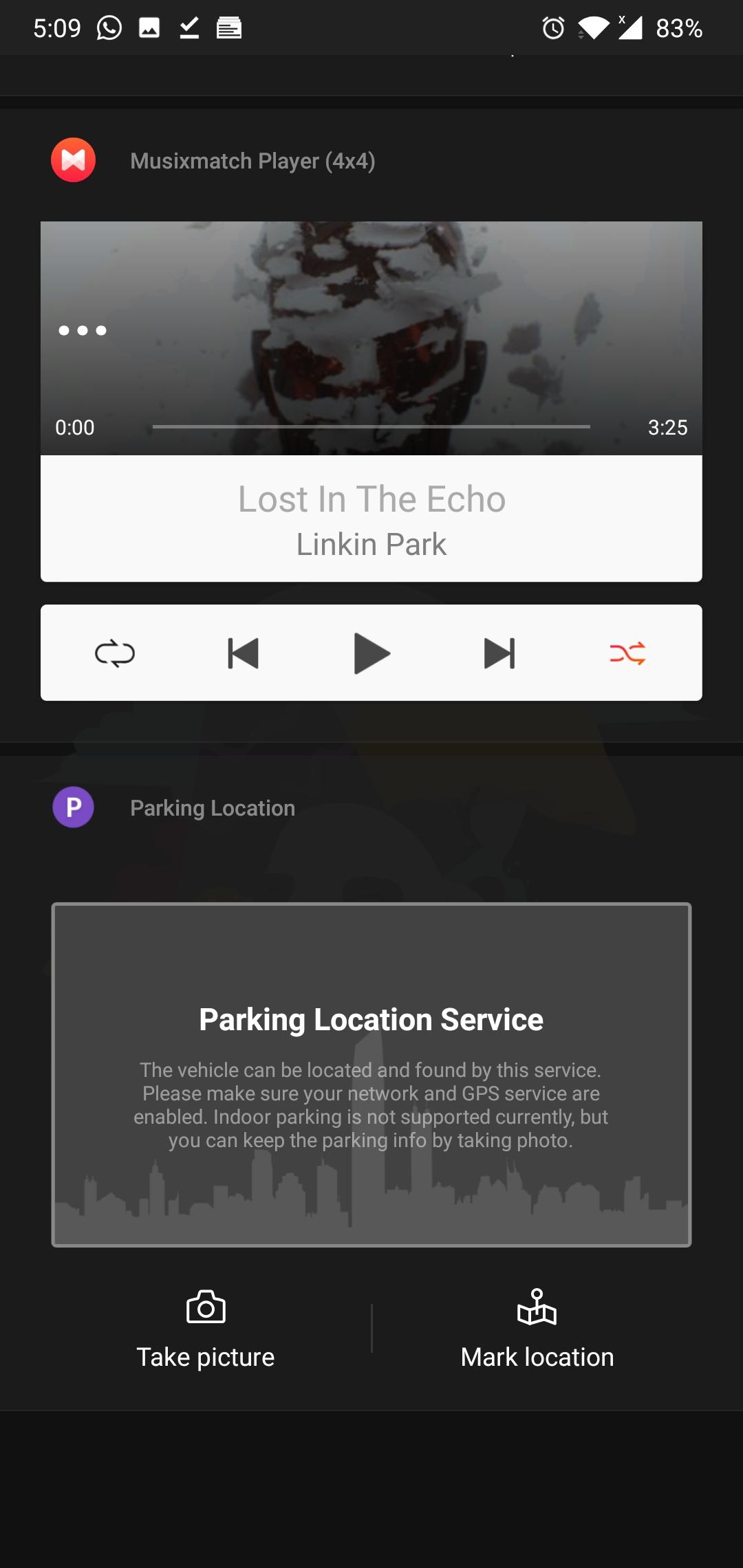 Tarjeta de ubicación de estacionamiento OnePlus