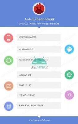 Especificaciones de OnePlus 5T de AnTuTu