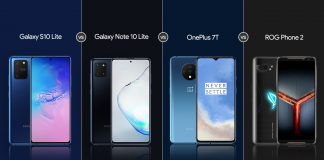Samsung Galaxy S10 Lite vs Galaxy Note 10 Lite vs OnePlus 7T vs Asus ROG Phone 2: Comparación de especificaciones