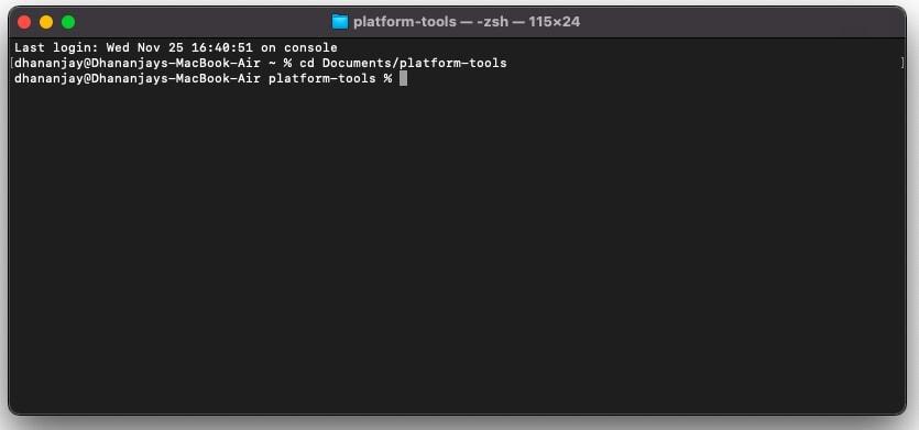 Inicie macOS / Linux Terminal dentro de la carpeta 'platform-tools'