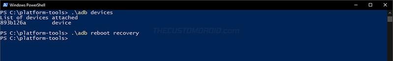 Arranque Realme X2 Pro en modo de recuperación usando el comando ADB