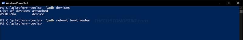 Arranque Realme X2 Pro en modo Fastboot usando el comando ADB