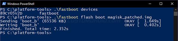 Paso 9: Imagen de arranque parcheada en Flash para instalar Magisk y Rootear Android 11