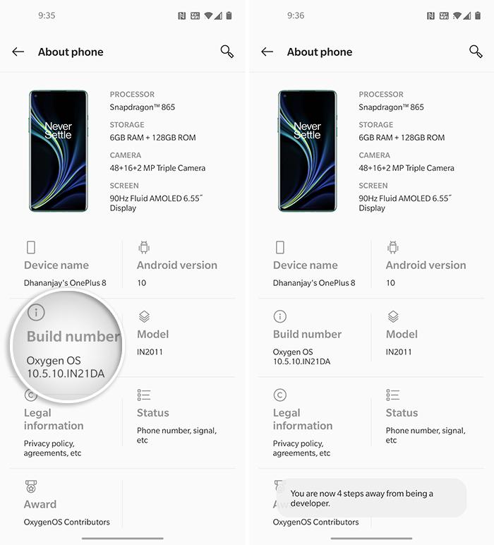 Toque repetidamente en 'Número de compilación' para habilitar las Opciones de desarrollador en OnePlus 8 (Pro)