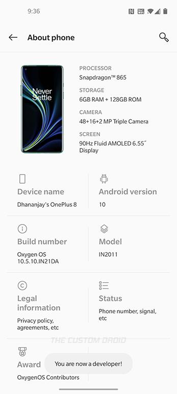 Opciones de desarrollador habilitadas con éxito en OnePlus 8 (Pro)