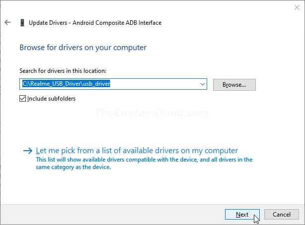 Haga clic en 'Siguiente' para instalar los controladores USB Realme en su PC con Windows