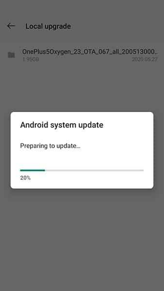 La actualización de OxygenOS se está instalando en OnePlus 5 / 5T