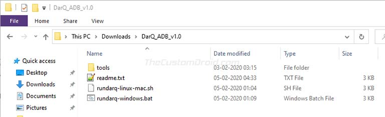 Paso 3: Extraiga el archivo de script DarQ ADB en la PC
