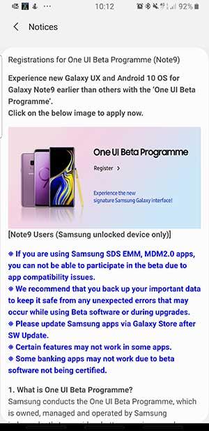 Cómo inscribir Galaxy Note 9 en Samsung One UI 2.0 Beta