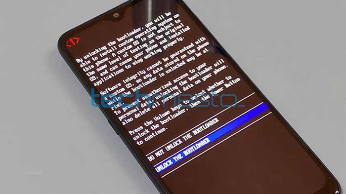 Nokia 7.2 y Nokia 6.2 - Mensaje de confirmación de desbloqueo del cargador de arranque