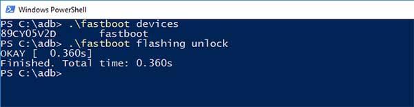 Ingrese el comando 'fastboot flashing unlock' para desbloquear el cargador de arranque en Nokia 7.2 y Nokia 6.2