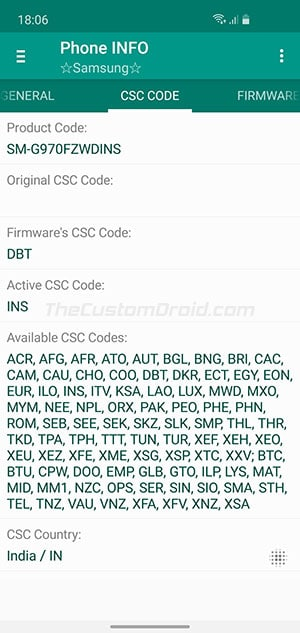 Verifique el dispositivo Samsung CSC en la aplicación INFO SAM