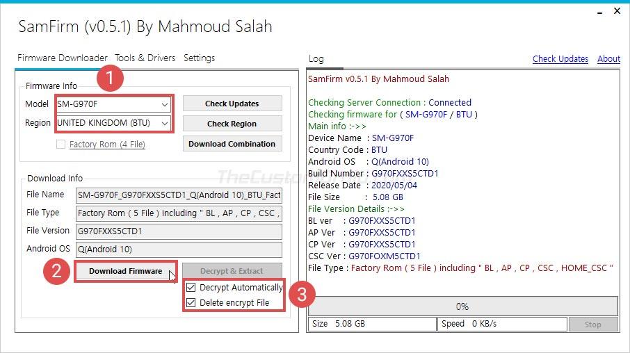 Descargue el firmware de archivo para dispositivos Samsung Galaxy usando la herramienta SamFirm