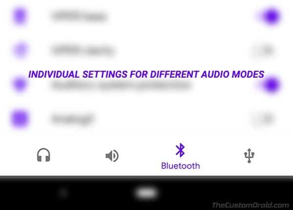 Configuración para diferentes modos de audio en ViPER4Android