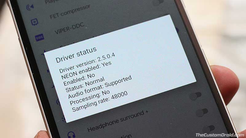 ViPER4Android Driver Status Normal en Android Pie
