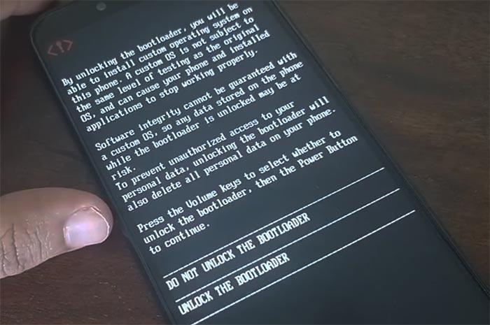 Desbloquear el cargador de arranque en Xiaomi Mi A2 / A2 Lite - Mensaje de advertencia