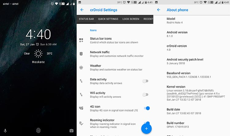 Las mejores ROM personalizadas para Xiaomi Redmi Note 4 - crDroid ROM