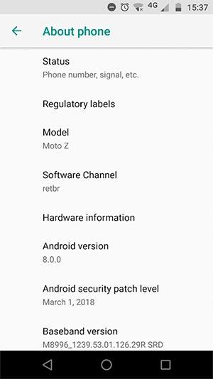 Instalar Moto Z Android 8.0 Oreo Update - Captura de pantalla OTA