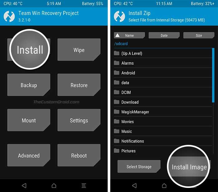 Instale la imagen del sistema genérico en los dispositivos Project Treble usando TWRP