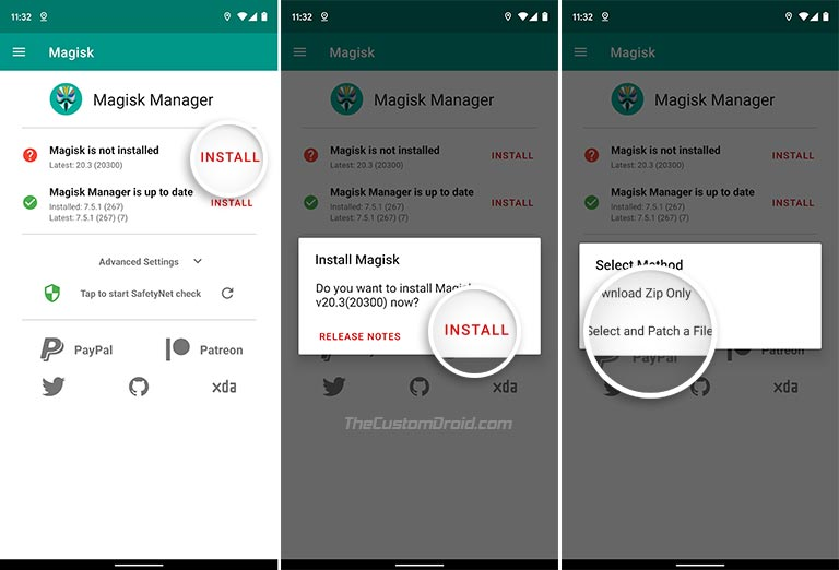 Seleccionar y parchear un archivo en Magisk Manager