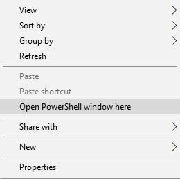 Desbloquee el cargador de arranque en Asus Zenfone 4 2017 - Abra la ventana de PowerShell aquí
