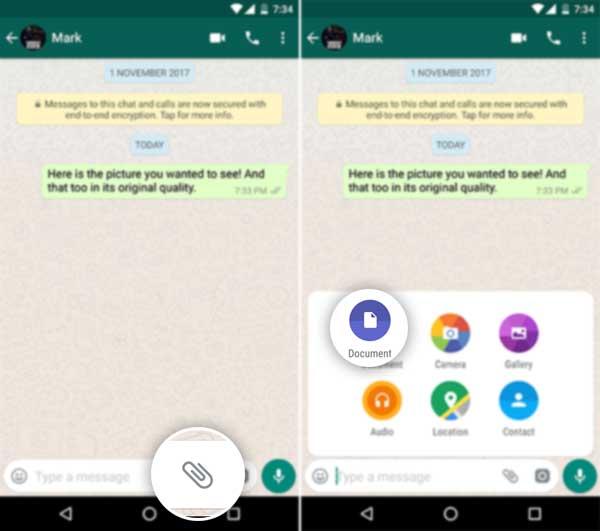 Cómo enviar imágenes sin comprimir en WhatsApp - Adjuntar como documento