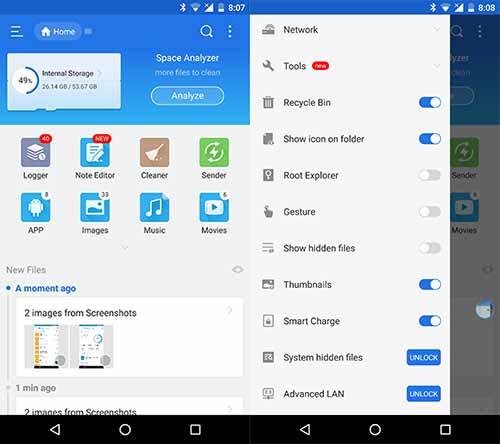 Las 5 mejores aplicaciones de administrador de archivos de Android - ES File Explorer
