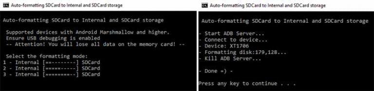 Herramienta de almacenamiento adoptable de tarjeta SD de partición