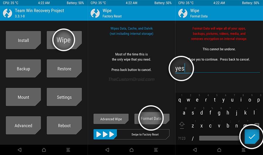Formatear la partición de datos en TWRP en LG Nexus 5X