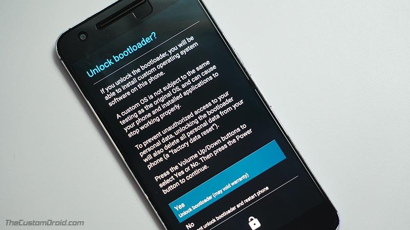 Mensaje de desbloqueo del cargador de arranque LG Nexus 5X