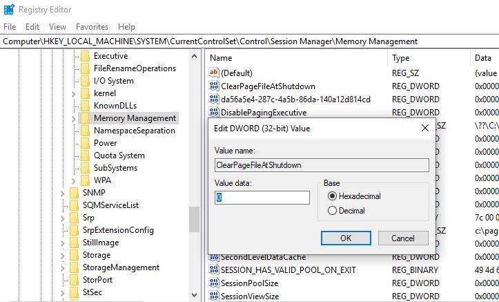 Borrar el archivo de paginación en el registro de Windows