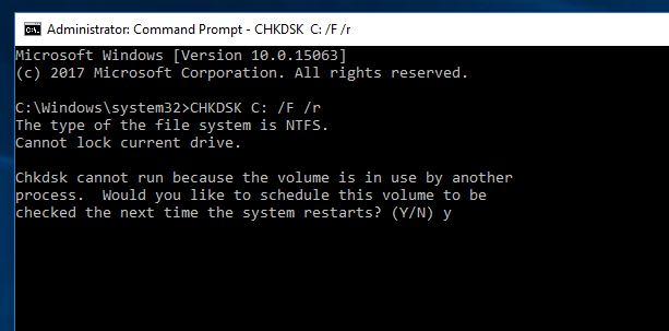Ejecute Comprobar disco en Windows 10