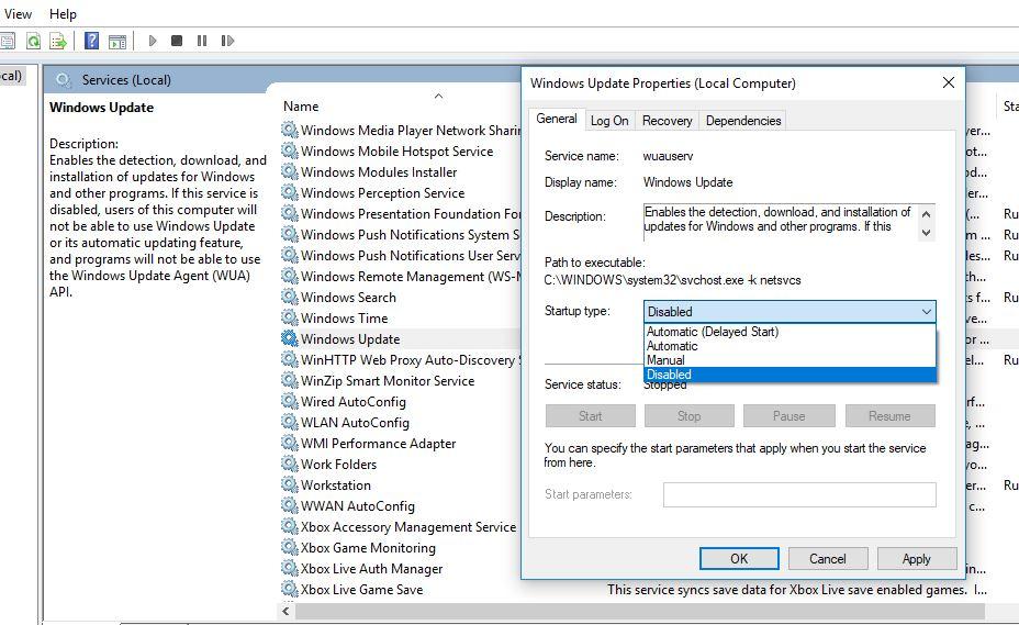 Detener el servicio de actualización de Windows