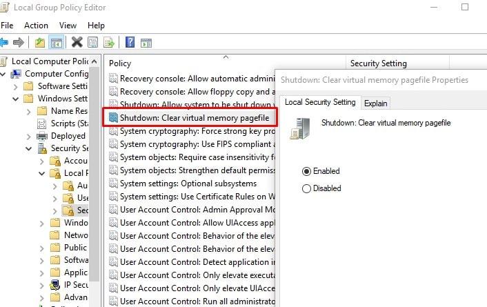Borrar el archivo de paginación en la política de grupo de Windows