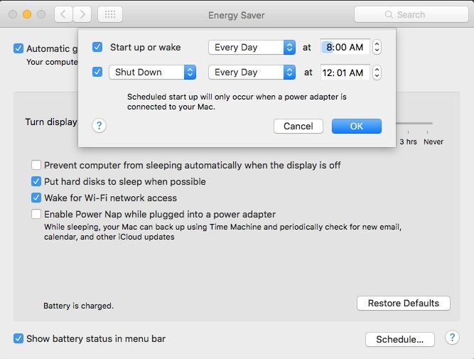 horario de macbook