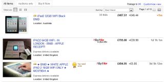 Apple iPad 2 se vende en todas partes, excepto en eBay