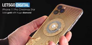 Colección de estrellas navideñas del iPhone 11 Pro con un enorme diamante