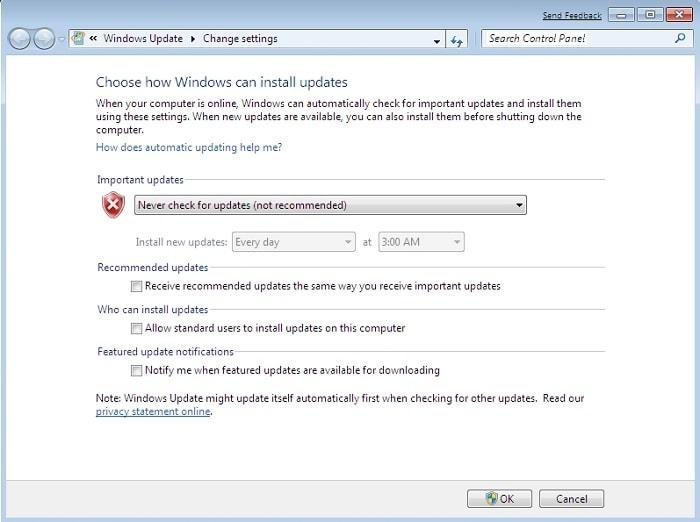 nunca compruebe la actualización de Windows