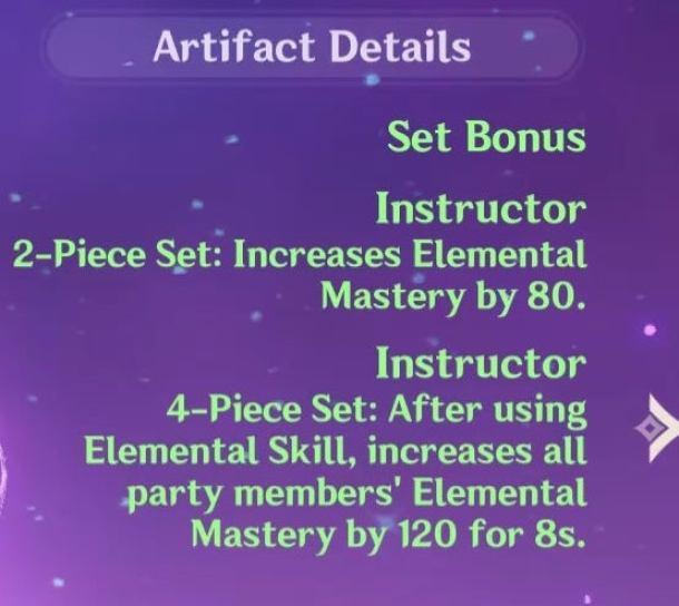 Conjunto del instructor de maestría elemental de impacto de Genshin