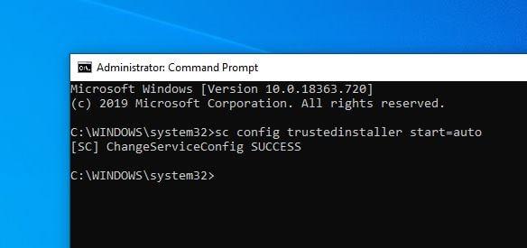 Inicio del instalador confiable de configuración de SC