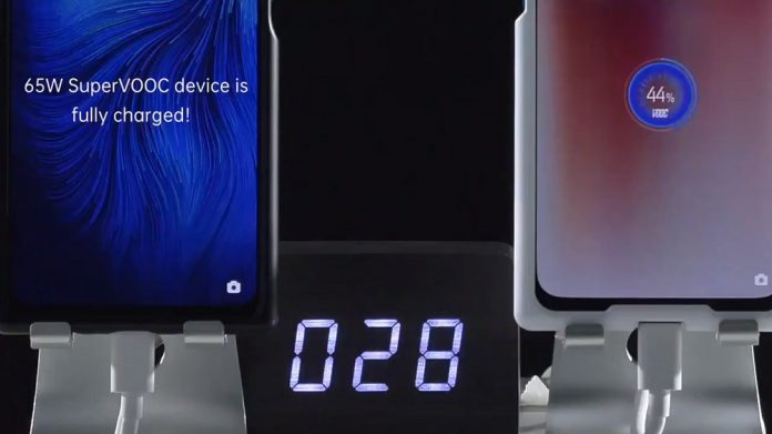 La nueva tecnología SuperVOOC Fast Charge 2.0 de 65 W de OPPO puede cargar completamente una batería de 4000 mAh en 30 minutos