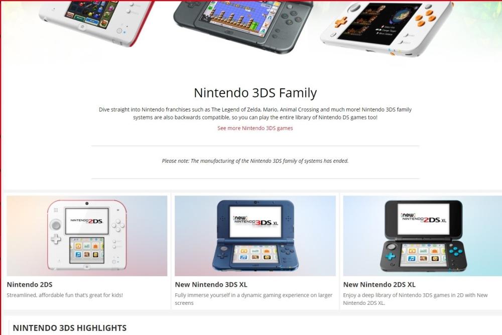 Nintendo 3DS detiene la producción