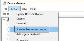 escanear cambios de hardware