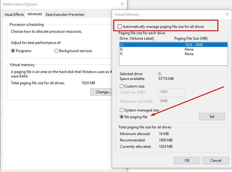 restablecer la memoria virtual de windows 10