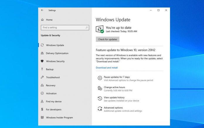 error de Windows 10 versión 20H2