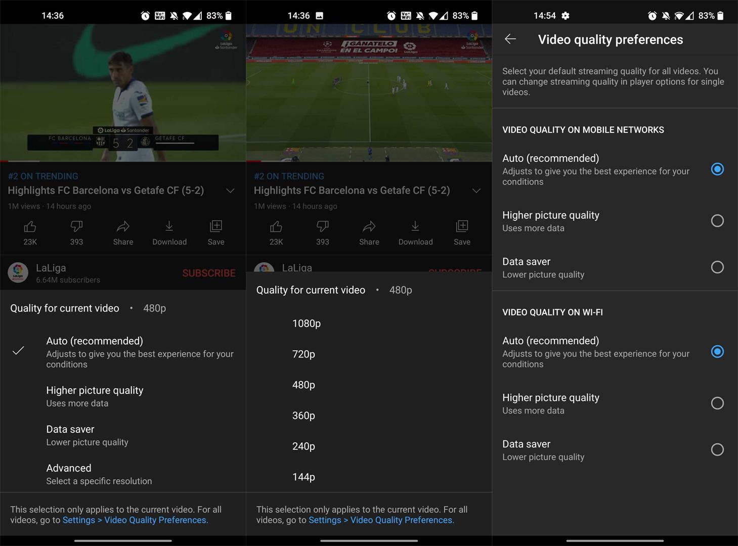 Opciones de calidad de video de YouTube amigables con los datos 3